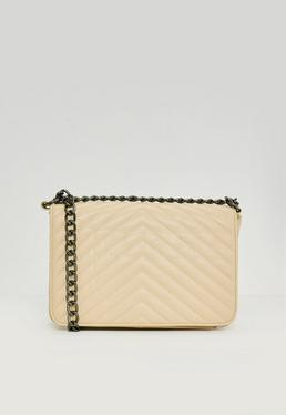 Nude Statement Chain Cross Body Bag