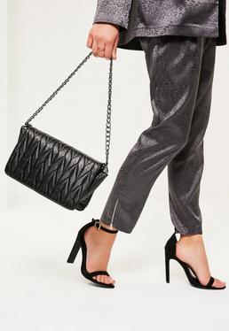 Black Quilted Chain Handle Cross Body Bag