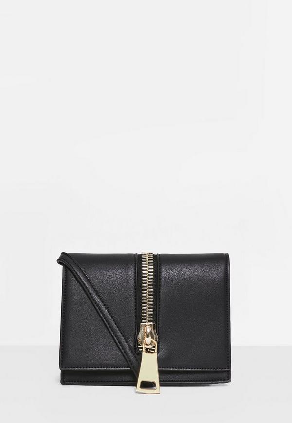 Black Statement Zip Cross Body Bag
