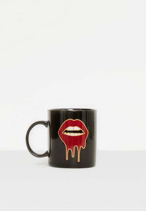 Black Dripping Lips Mug