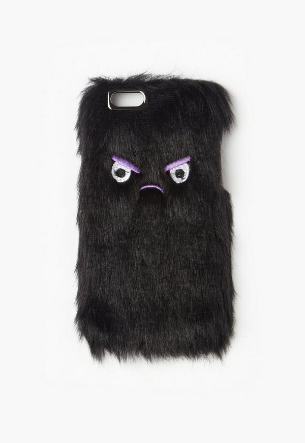 Black Angry Face Faux Fur iPhone 6 Case