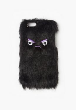 Czarny futrzany pokrowiec na telefon iPhone 6 Angry Face