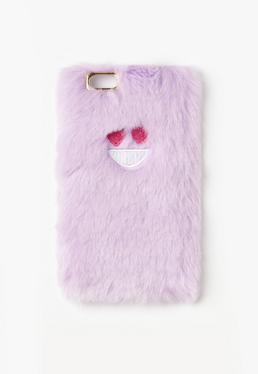 Purple Heart Face Faux Fur iPhone 6 Case