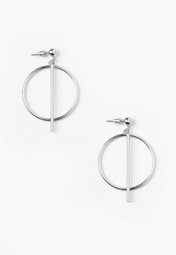 Silver Bar Hoop Earrings