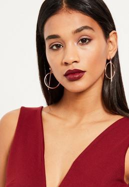 Rose Gold Bar Hoop Earrings