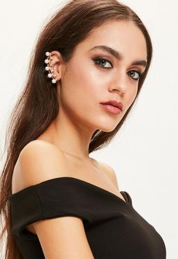 Ear Cuff Ohrspange mit weißen Perlen und Kristall-Steinen in Gold