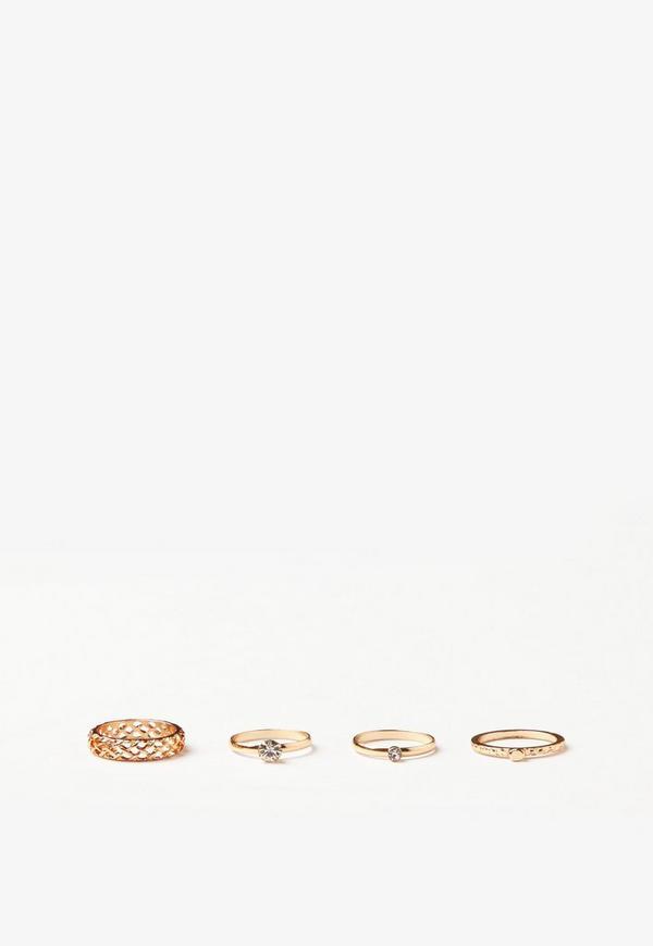 Gold 4 Pack Diamante Ring Set