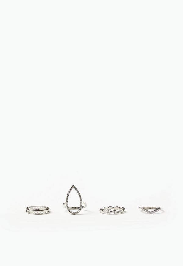Silver 4 Pack Ring Set