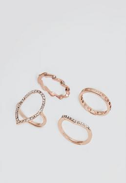 Rose Gold 4 Pack Ring Set