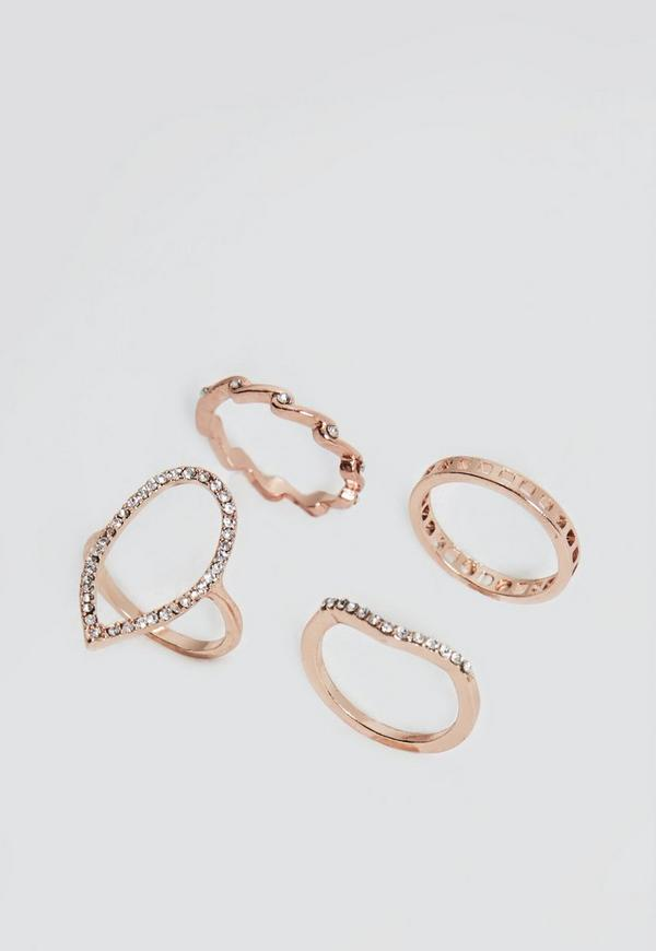 Rose Gold 4 Pack Ring Set