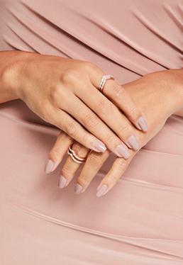 Rose Gold Diamante Stacking Ring Set