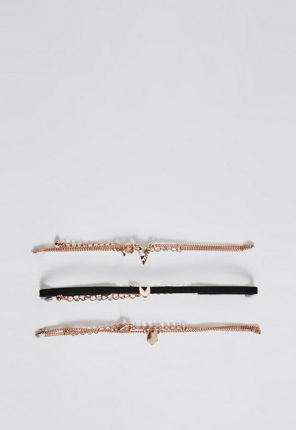 Rose Gold 3 Pack Choker Necklace Set