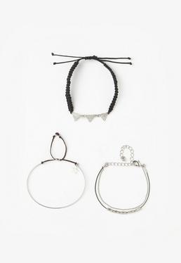 Silver 3 Pack Simple Bracelets
