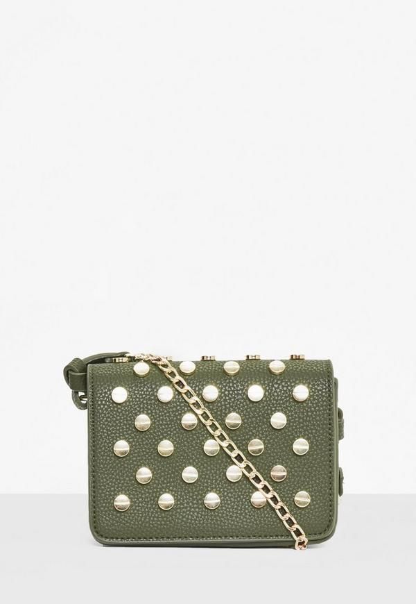 Khaki Studded Cross Body Bag