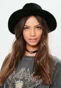 Black Faux Suede Fedora