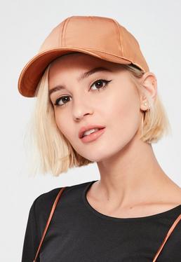 Brązowa satynowa czapka z daszkiem