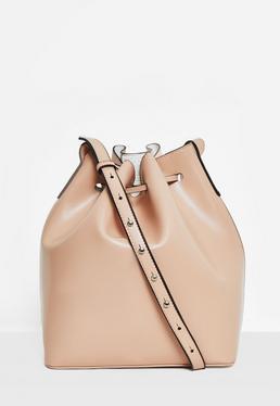 Beżowa skórzana torebka worek na pasku