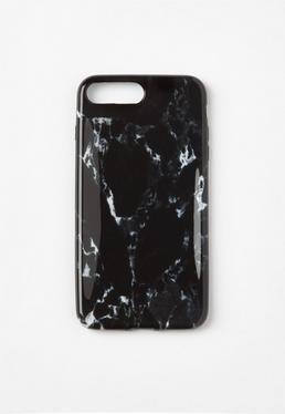 Hülle für iPhone 7+ in marmoriertem Schwarz