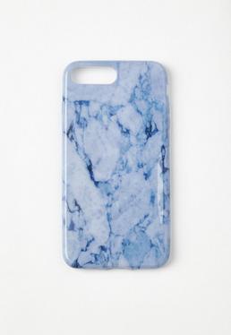 Funda para iPhone 7+ con efecto marmolado azul