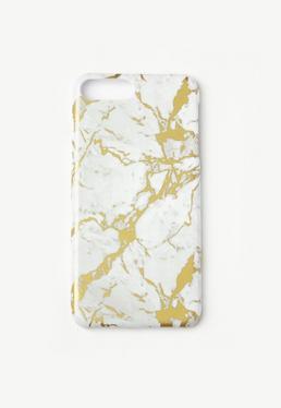 Coque pour iPhone 7+ dorée marbrée