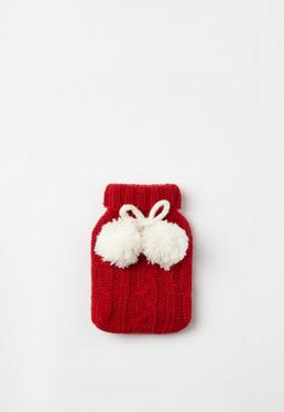 Red Pom Pom Hand Warmer