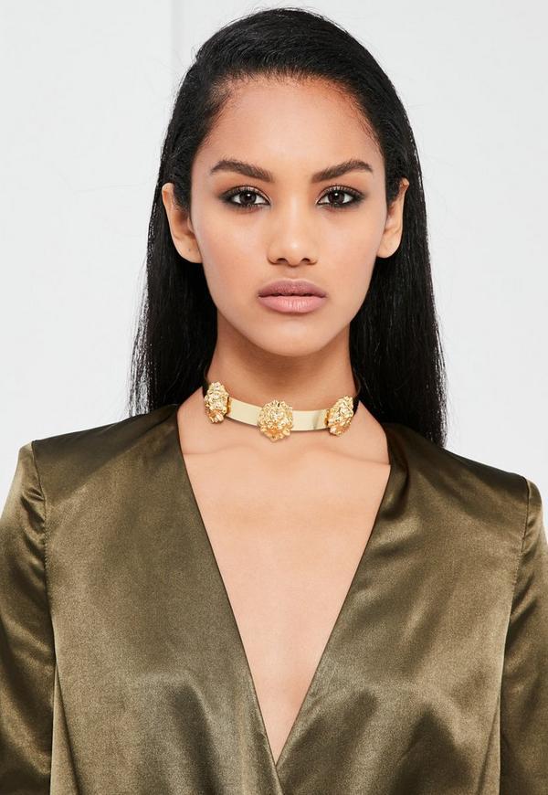 Peace + Love Gold Lion Head Metal Choker Necklace