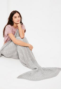 Grey Mermaid Fishtail Blanket