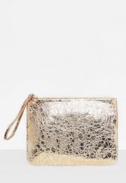 Gold Stud Wristlet Clutch Bag