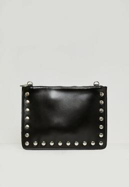 Black Contrasting Stud Detail Zip Top Clutch Bag
