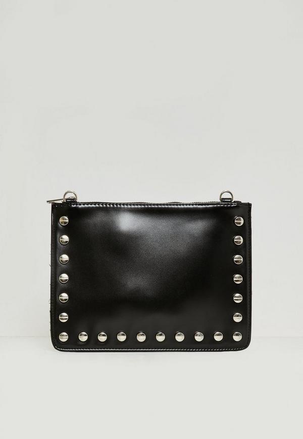 Black Stud Detail Zip Top Clutch Bag