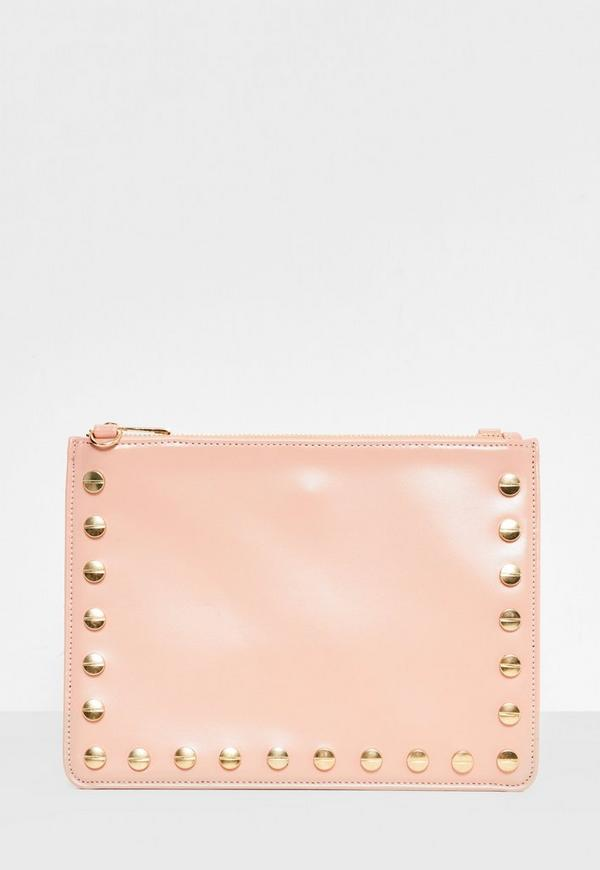 Pink Stud Detail Zip Top Clutch Bag