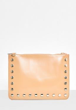 Nude Stud Detail Zip Top Clutch Bag