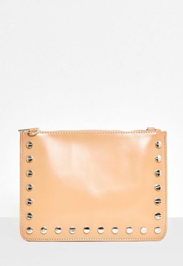 Nude Stud Detail Zip Top Clutch Bag