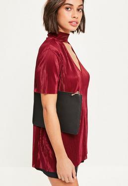 Black Textured Zip Top Clutch Bag