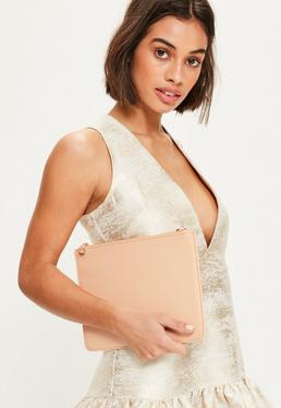 Nude Textured Zip Top Clutch Bag