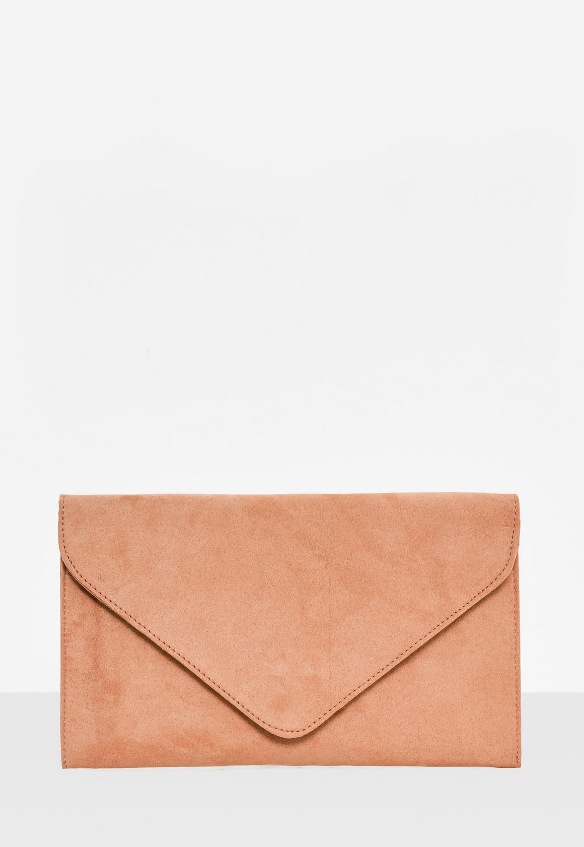 Nude Faux Suede Clutch Bag | Missguided