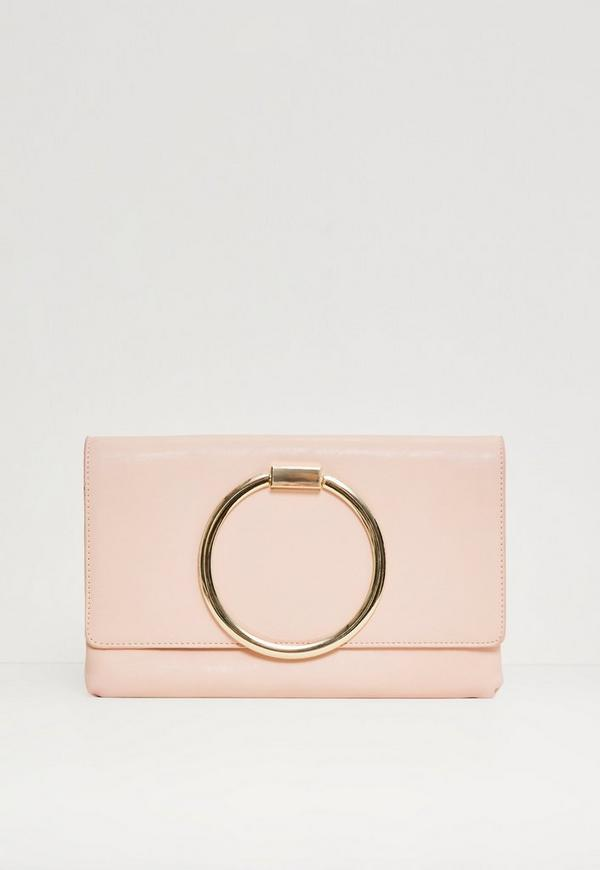 Pink Circle Grab Handle Clutch Bag