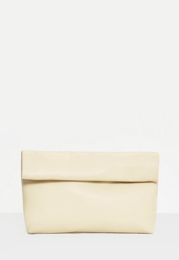 Cream Roll Top Clutch Bag