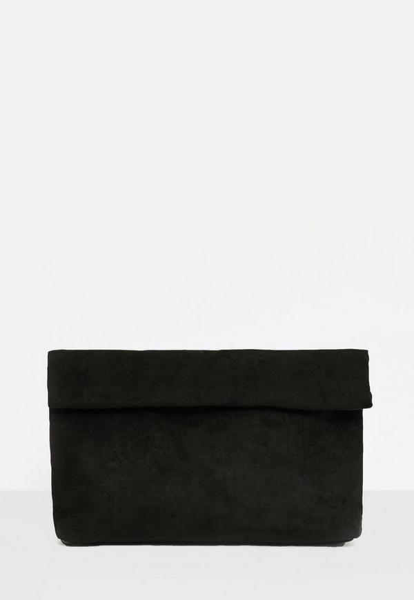 Black Roll Top Clutch Bag
