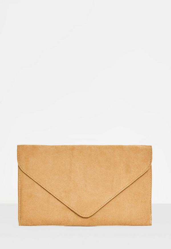 Camel Faux Suede Envelope Clutch