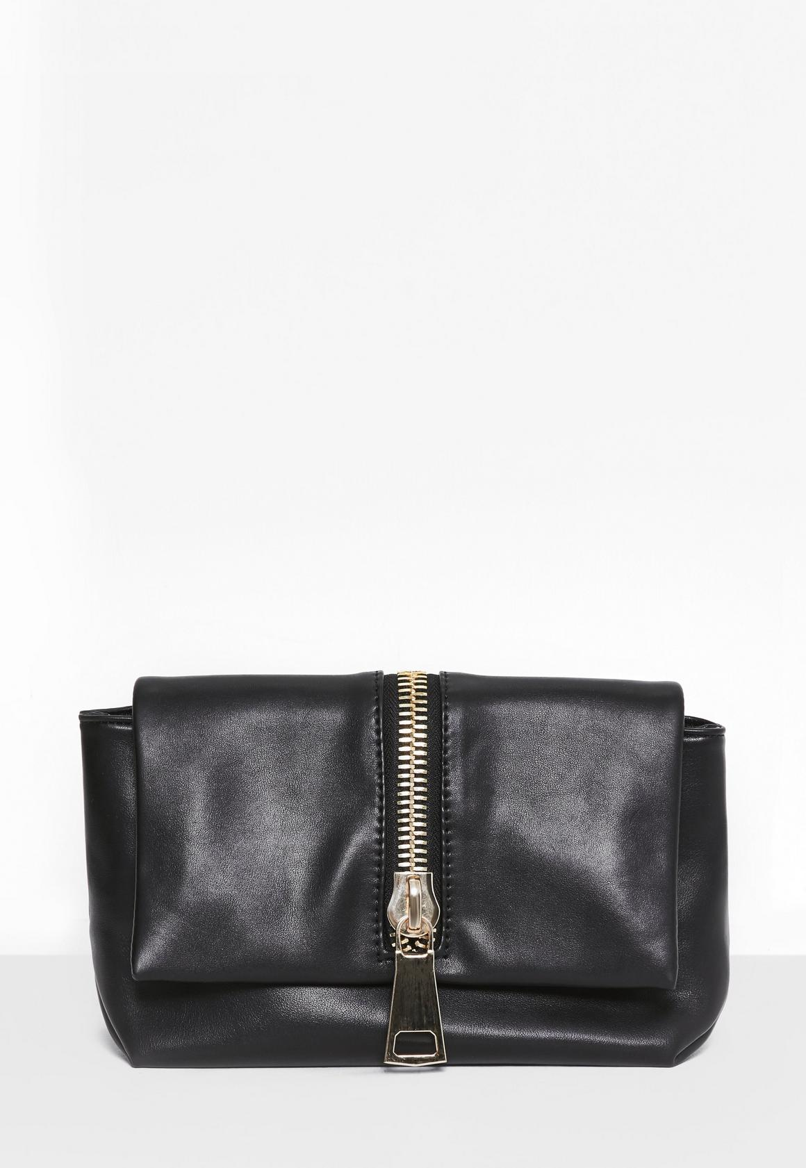 Black Faux Leather Zip Clutch Bag| Missguided
