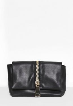 Black Faux Leather Zip Clutch