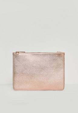 Rose Gold Textured Zip Top Clutch Bag