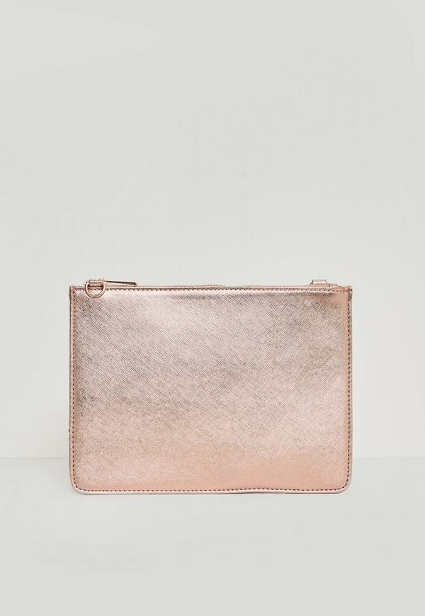 Rose Gold Textured Zip Top Clutch Bag