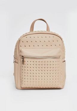 Nude Metal Stud Adjustable Straps Backpack