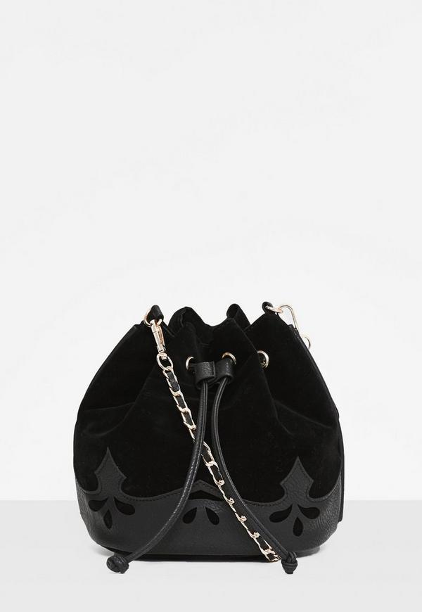 Black Faux Suede Western Trim Multi-Way Bag