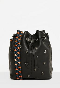 Black Star Studded Drawstring Cross Body Bag