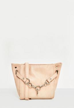 Nude Chain Lock Cross Body Bag