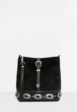 Black Western Trim Faux Pony Cross Body Bag