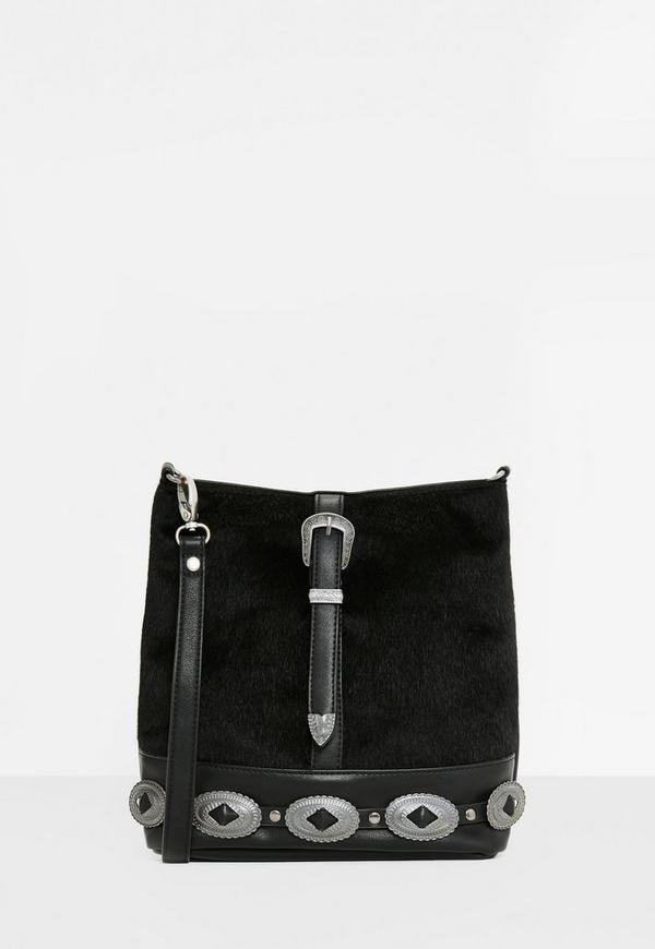 Black Western Trim Faux Pony Cross Body Bag